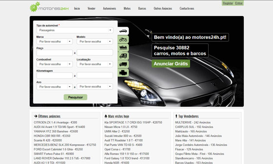 Os melhores sites para compra e venda de carros: Motores 24h